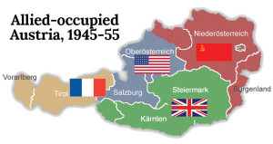 After the death of Stalin, and after Austrian promises of perpetual neutrality, the Allied occupation forces pulled out in 1955.  Note that Vienna (just to the right of the Soviet flag) was divided into four zones, much like Berlin.